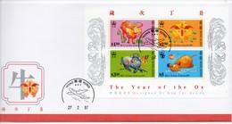 FDC De China Chine : (24) 1997 Hong Kong - Année De Boeuf SG MS878 - 1997-... Región Administrativa Especial De China