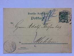 GERMANY 1892 PPC Iserlohn To Mehlem - Deutschland