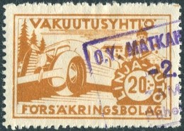 Finland 1940's Autopaketti LINJA-AUTO 20 Mk Private Bus Parcel & Freight Insurance Stamp Colis Paketmarke Frachtmarke - Bussen