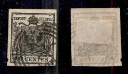 ANTICHI STATI ITALIANI - Lombardo Veneto - 1850 - 10 Cent (2d - Nero Intenso) Con Decalco (varietà F) - Usato A Monselic - Stamps
