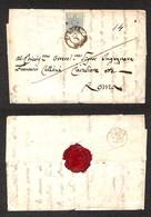 ANTICHI STATI ITALIANI - Lombardo Veneto - Verona 22.1(1855) - 45 Cent (12b - Azzurro Grigio) Isolato Su Lettera Per Rom - Timbres