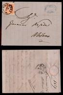 ANTICHI STATI ITALIANI - Lombardo Veneto - Cremona 26.4.59 - 5 Soldi (25 - Primo Tipo) Isolato Su Lettera Per Milano - Stamps