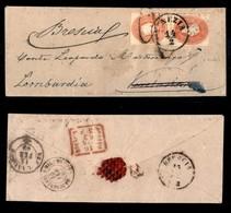 ANTICHI STATI ITALIANI - Lombardo Veneto - Due 5 Soldi (33a + 33) Di Colori Diversi Su Bustina Da Venezia A Verolanuova  - Stamps