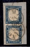 ANTICHI STATI ITALIANI - Lombardo Veneto - Provvisori - Milano 11.7 (59) - Coppia Disallineata Del 20 Cent Sardegna (C3) - Stamps
