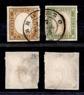ANTICHI STATI ITALIANI - Lombardo Veneto - Brozzo (P.ti 12) - 10 Cent + 5 Cent (14E + 13Eb - Sardegna) - Molto Belli (1. - Stamps