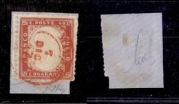 ANTICHI STATI ITALIANI - Lombardo Veneto - Milano (rosso - P.ti 12) 7.12.62 - 40 Cent (3 - Regno) Usato Su Frammento - O - Timbres