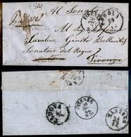 ANTICHI STATI ITALIANI - Lombardo Veneto - Padova (29.12 - 1866) - Lettera Per Firenze Inoltrata Poi A Mantova E Resa A  - Timbres