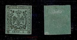 ANTICHI STATI ITALIANI - Modena - 1852 - 5 Cent (1) - Molto Fresco - Cert. AG (6.500) - Timbres