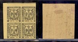 ANTICHI STATI ITALIANI - Modena - 1852 - 15 Cent (3) - Quartina Angolare - Coppia Inferiore Gomma Integra - Timbres