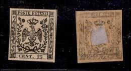ANTICHI STATI ITALIANI - Modena - 1852 - 25 Cent (4c - Oleoso) - Molto Bello - G. Bolaffi - Timbres