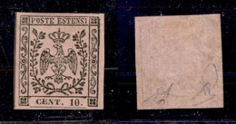 ANTICHI STATI ITALIANI - Modena - 1852 - 10 Cent (9) - Gomma Parziale - Diena (800) - Stamps