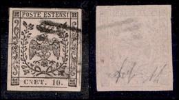 ANTICHI STATI ITALIANI - Modena - 1852 - 10 Cent (9f - Rosa Chiaro) - Errore CNET - Diena + Wolf (2.750) - Stamps
