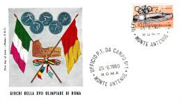 ITALIA - 1960 ROMA Giochi XVII Olimpiade UFFICIO PT DA CAMPO MONTE ANTENNE Su Busta Speciale - Francobolli