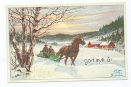 Christmas Greetings Postcard. Artiste Cp Nyström, Curt, Stockholm Horse And Cart Unused - Navidad