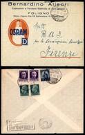 REPUBBLICA - Mista Regno (248 Coppia + 251 Due) Democratica (555) Al Retro Di Busta Pubblicitaria Da Foligno A Firenze D - Unclassified