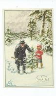 Christmas Greetings Postcard. Artiste Cp Nyström, Curt, Stockholm Tree Cutting  Unused - Navidad