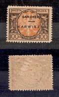 POLONIA - Samorzad Warwiszki - 1923 - 100 Marchi (2) - Gomma Integra - Cert. AG - Francobolli