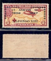 SPAGNA - 1927 - 4 Pesetas Croce Rossa Soprastampato (374) - Gomma Integra (260) - Francobolli