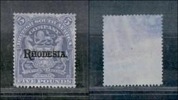 RHODESIA - 1909 - 5 Pounds (SG.113e) - Senza Gomma - Cert. AG - Francobolli