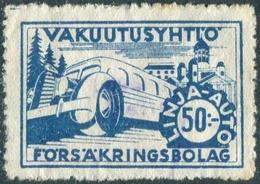 Finland 1940's Autopaketti LINJA-AUTO 50 Mk Private Bus Parcel & Freight Insurance Stamp Colis Paketmarke Frachtmarke - Bussen