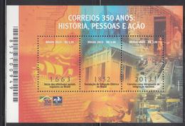 2013 Brazil Brasil Postal Services  Miniature Sheet Of 3 MNH - Brazilië