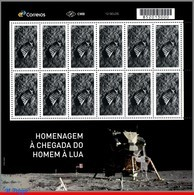 Ref. BR-V2019-13-F BRAZIL 2019 TRIBUTE TO LUNAR LANDING MISSION, SPACE EXPLORATION, MOON, APOLLO 11, SHEET MNH - Blocs-feuillets