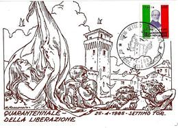 ITALIA - 1985 SETTIMO TORINESE (TO) 40° Anniv. Liberazione (bandiera, Torre Castello) Su Cartolina Speciale - Militaria