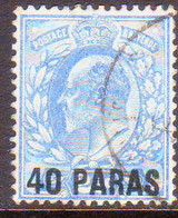 BRITISH LEVANT 1902 SG #8a 40pa. On 2½d Used Pale Ultramarine - Levant Britannique
