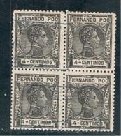 FERNANDO POO1907:Edifil155 Block Of 4 Cancelled - Fernando Poo