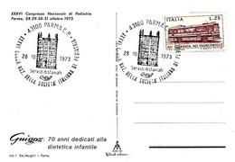 ITALIA - 1973 PARMA XXXVI Congresso Società Di Pediatria (battistero Di Parma) Su Cartolina Illustrata Sponsor Guigoz - Vacanze & Turismo