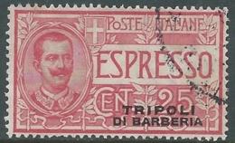 1909 LEVANTE TRIPOLI DI BARBERIA ESPRESSO USATO 25 CENT - RA24-2 - 11. Foreign Offices