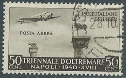 1940 EGEO POSTA AEREA USATO TRIENNALE OLTREMARE 50 CENT - RA24-2 - Egée