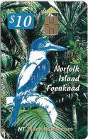 Norfolk Isl. - Telstra/Norfolk. Tel (Chip) - Norrfka Bird (Sacred Kingfischer), 2000, 10$, 2.000ex, Used - Norfolk Eiland
