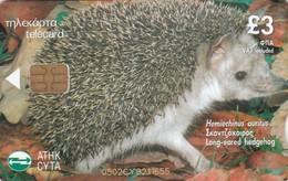 Cyprus, 0502CY, Cyprus Animals, Long-eared Hedgehog, (hemiechinus Auritus), 2 Scans. - Cyprus
