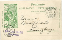 214 - 29 -  Entier Postal UPU Avec Cachets à Date Basel Et Lenzburg 1900 - Entiers Postaux