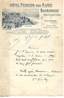 Lettre 1/2 Format 1907 / SUISSE MONT PELERIN SOUS VEVAY  / Hôtel BAUMAROCHE  / Lac LEMAN / Comtesse DE Scey - Suisse