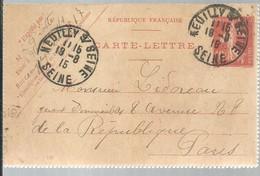 CARTE LETTRE  NEUILEY S SEINE 1915 - Enteros Postales