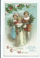 Christmas  Greetings Postcard  Embossed Lithographed International Art Publishing Co Children - Christmas