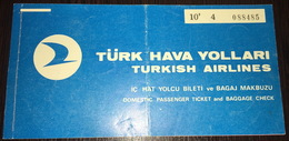 Turkish Airlines Ticket Ankara Adana 1974 - Billetes De Transporte