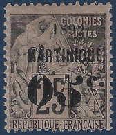 France Colonies Martinique N°27a Variété 5 Penché Frais & RR - Martinique (1886-1947)