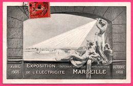 Marseille - Exposition Internationale De L'Electricité - Avril 1908 - Statue - Edit. S.E.P.A. - 1908 - Exposition D'Electricité Et Autres