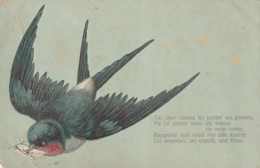 ***  Oiseaux  *** Hirondelle  Messagere - Par Illustrateur Timbrée TB(pli Angle)  Relief - Pájaros