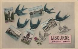 ***  Souvenir De LIBOURNE Hirondelles Multi-vues - Timbrée TTB - Libourne