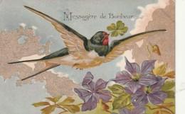 ***  Oiseaux  *** Hirondelle  Messagere - Par Illustrateur Timbrée TTB   Relief Dorure - Messagere Du Bonheur - Pájaros