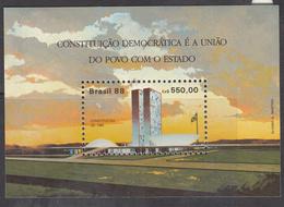 1988 Brazil Brasil  New Constitution Architecture   Miniature Sheet Of 1 MNH - Ungebraucht