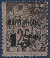 France Colonies Martinique N°17c* 15c Sur 25c Neuf Variété 5 Penché R & TTB - Martinique (1886-1947)