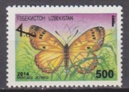 2014Uzbekistan1089Overprint # 2 - Mariposas