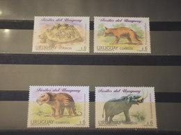URUGUAY - 1998 ANIMALI FOSSILI 4 VALORI - NUOVI(++) - Uruguay