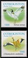 2014Uzbekistan1077-78Birds5,40 € - Struisvogels