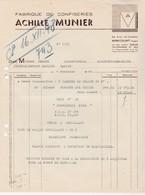 Facture 1948 / Achille MUNIER / Fabrique De Confiseries / 88 Mirecourt Vosges - France